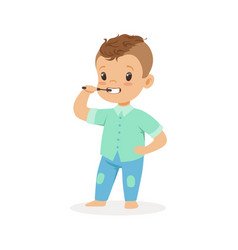 cute cartoon boy brushing his teeth kids dental vector image