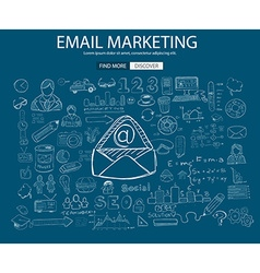 Email marketing concept with doodle design style vector