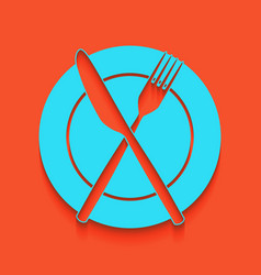 Fork knife and plate sign whitish icon vector