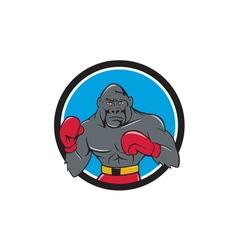 Gorilla boxer boxing stance circle cartoon vector