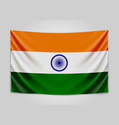 Hanging flag of india republic of india national vector