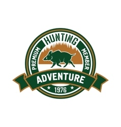 Hunting club badge with wild boar and forest vector image vector image