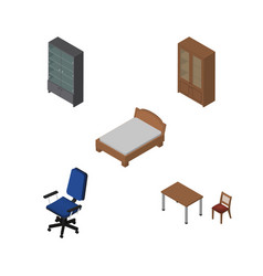 Isometric design set of sideboard office cabinet vector