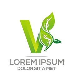 Letter v leaves icon vector
