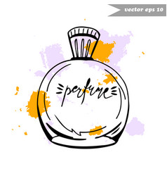 perfume bottle with splashes vector image vector image