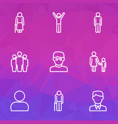 person outline icons set collection of profile vector image vector image