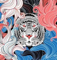 portrait of a beautiful ornamental tiger vector image