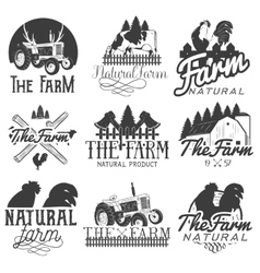 set of farm labels Monochrome logos vector image
