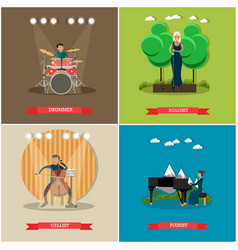set of singers and musicians concept flat vector image vector image