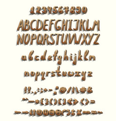 three dimensional font with a full set of elements vector image vector image
