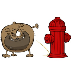 Dog pees on hydrant vector