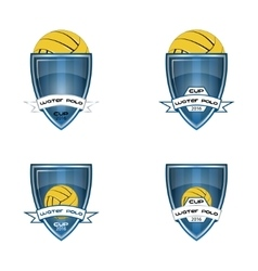 Set water polo logo for the team and the cup vector