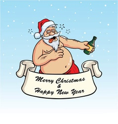 Drunk Santa Claus Drinking Booze Christmas Card vector image