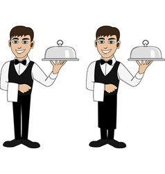 A waiter with a dish vector