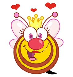 Queen bee cartoon mascot character with hearts vector