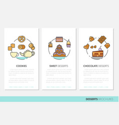 Desserts and sweets food business brochures vector