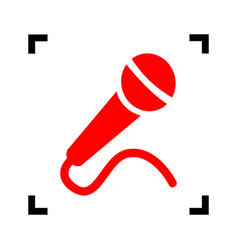 Microphone sign   red icon vector
