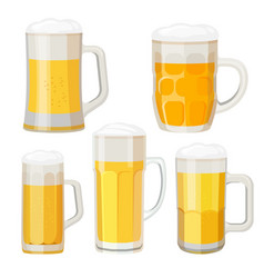 Collection of beer mugs with handles isolated on vector