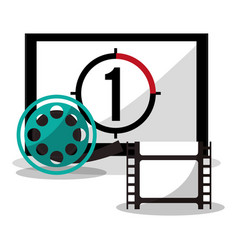 cinema board countdown film reel vector image