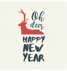 New year text quote typography deer vector