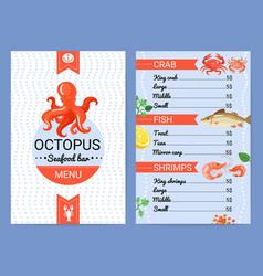 Seafood bar menu flat poster vector