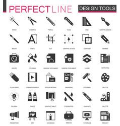Black classic graphic design tools icons set vector