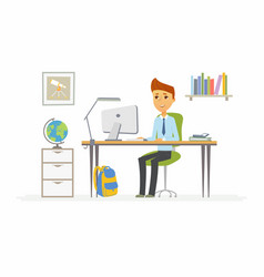 Online education - of boy student at vector