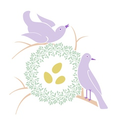 Birds near nest vector