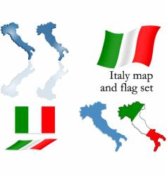 Italy map and flag set vector