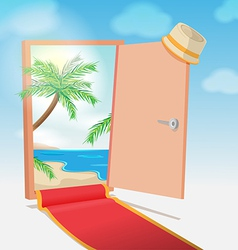 Opened door beach background travel vector