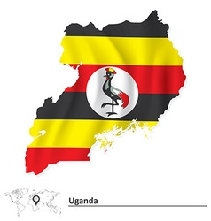 Map of uganda with flag vector