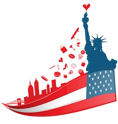 New york city symbol on usa flag vector