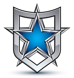 Renown silver emblem with pentagonal star 3d vector image