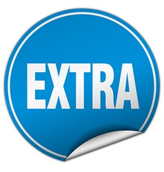 Extra round blue sticker isolated on white vector