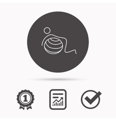 Gymnastic ball icon pilates fitness sign vector