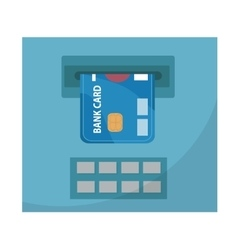 Atm with a bank card icon flat design isolated vector