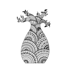 baobab tree coloring page book in zentangle style vector image vector image