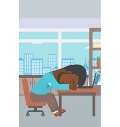 Businessman sleeping on workplace vector image vector image