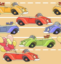 Cartoon retro car seamless pattern vector