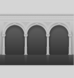 classic roman antique interior with stone arches vector image