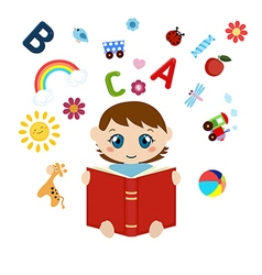 Cute baby sitting and reading book vector