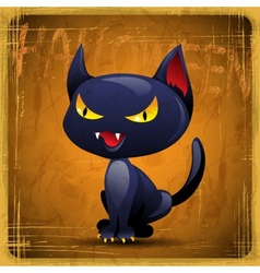 EPS10 vintage grunge old card Halloween cat vector image vector image