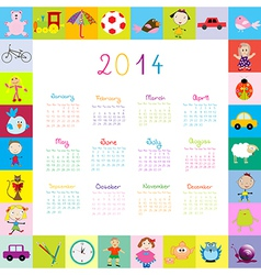 Frame with 2014 calendar with toys vector image vector image