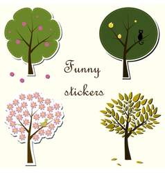 Funny stickers with trees vector image