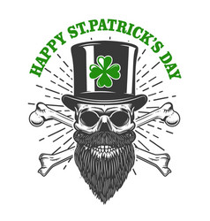 happy saint patrick day irish leprechaun skull vector image vector image