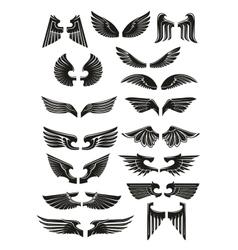 Heraldic black wings icons set vector