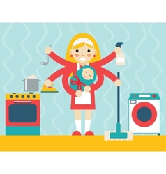 Housewife symbol with child and accessories icons vector