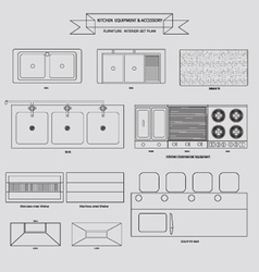Kitchenvabinet furniture outline icon vector image vector image