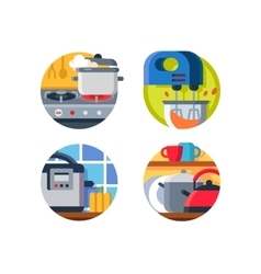 Kitchenware icon stove and kettle vector image