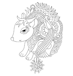 line ethnic drawing nice hedgehog isolated for vector image vector image